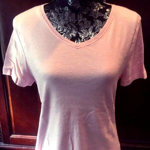 Laura Scott Pink V-neck T-shirt, L